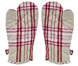 ELAN Cotton Microwave Oven Gloves 18 X 32 CM Red Check (Set of 2)