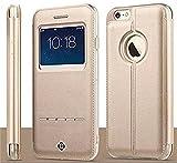 iPhone 6S Plus ケース/ iPhone 6 Plus ケース 5.5インチ,Vandot 超薄 高級PUレザー 手帳型 ウィンドウ フリップ 保護 ケース 、窓付き 横置きスタンド機能付き――ゴールデン