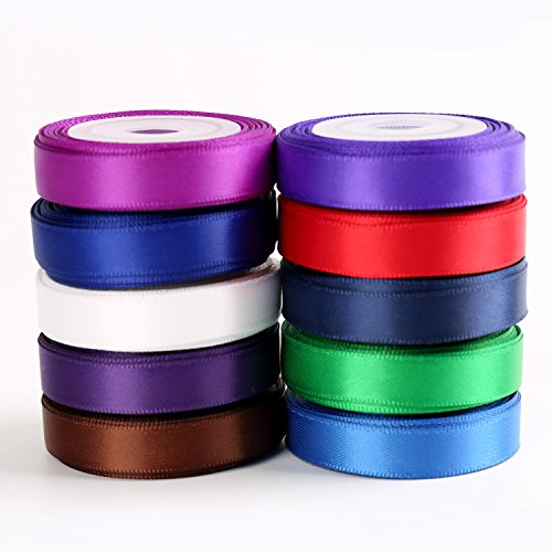"Solid Color Satin Ribbon Asst. #3 - 10 Colors 3/8"" X 5 Yard Each Total 50 Yds Per Package"