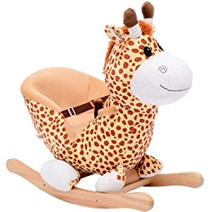 ... Qaba Kids Plush Rocking Horse-Style Giraffe Theme Chair: Toys & Games
