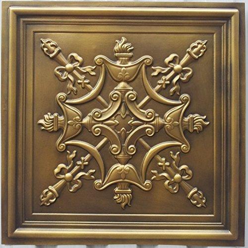 PL07imitation peint à la main en laiton antique plafond Panneaux muraux décoration carrelage en relief Cafe Pub Shop artisic 10pieces/Lot