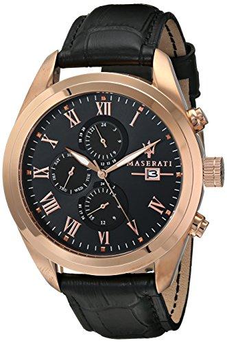 Maserati  0 - Reloj de cuarzo para hombre, con correa de cuero, color negro