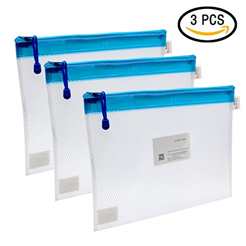 Zipper File Bags, VAlinks® 3Pcs Clip-on Zippered Waterproof PP Storage Bags with Small Label Pocket Organizer for Term Papers, Document, Newspapers, Business Receipts, Magazines Clip And More! (3pcs) (Pencil Sealer compare prices)