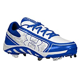 Under Armour Women\'s Spine Glyde St Cc Metal Fastpitch Cleat, White/Royal, SZ 8
