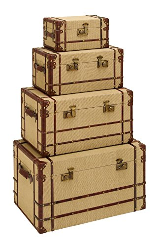 Deco 79 Wood Burlap Trunk, 27 By 23 By 20 By 14-Inch, Set Of 4