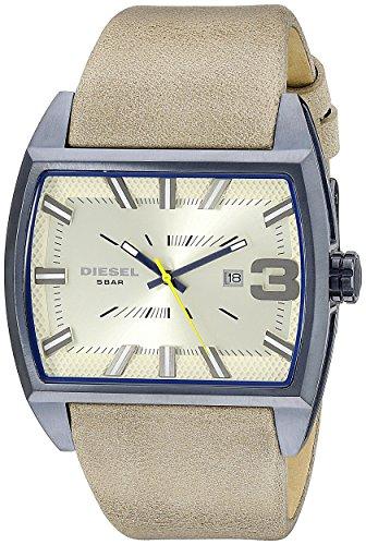 Diesel Reloj de hombre cuarzo analógico correa de cuero caja de acero dial beige DZ1703