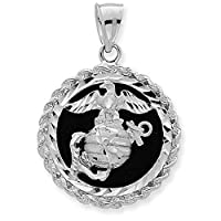 Fine 925 Silver US Marine Corps Medal-Style Military Pendant on Black Onyx from Claddagh Gold