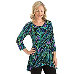 Collections Etc Abstract High Low Hemline 3/4 Sleeves Tunic