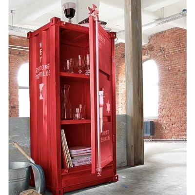 Schrank im Industrial-Design, rot, ca. B61,5 x T41 x H132 cm