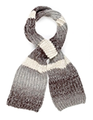 M&S Collection Ombre Striped Scarf with Wool