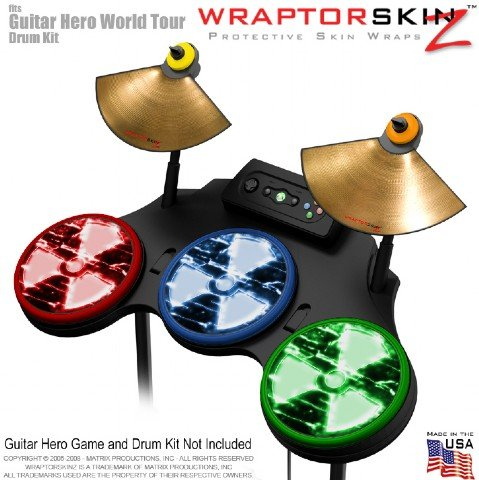 Radioactive Colors Skin by WraptorSkinz fits Guitar Hero 4 World Tour Drum Set for Nintendo Wii, XBOX 360, PS2 & PS3 (DRUMS NOT INCLUDED)