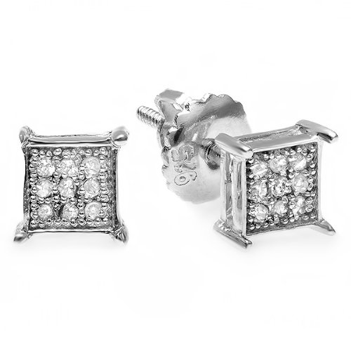 0.15 Carat (ctw) Platinum Plated Sterling Silver Diamond Micro Pave Hip Hop Iced Square Shaped Stud Earrings