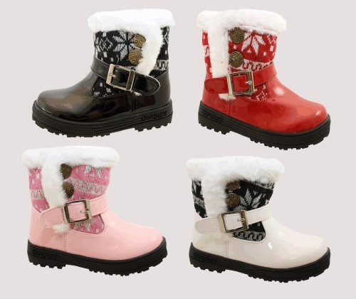 Toddler Infant Baby Girls Winter Patent Fur Aztec Print Velcro Ankle Boots In Black White Red or Pink Sizes UK 3 - 7