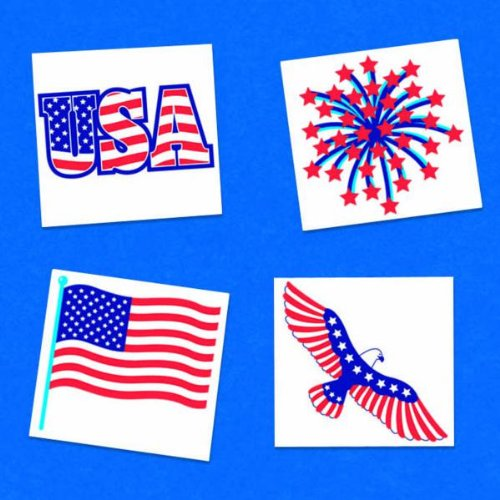 Online Stores, Inc. Patriotic Temporary Body Tattoos Package Of 24 - 1
