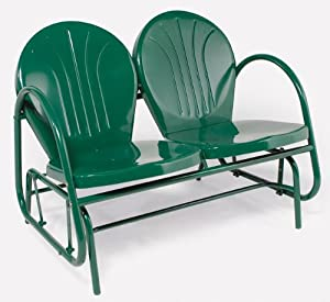 Hunter Green Retro Metal Tulip Double Glider from Rich Pacific