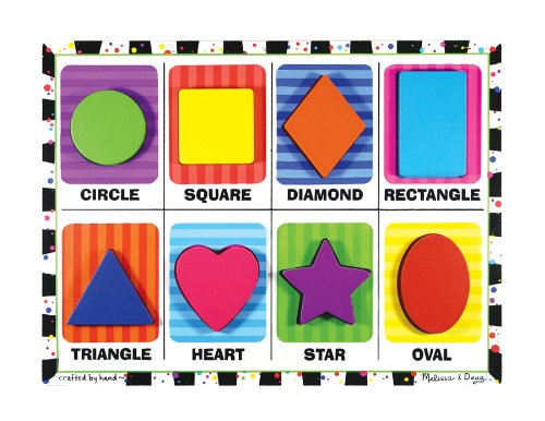 Shapes Themed Chunky Puzzle + FREE Melissa & Doug Scratch Art Mini-Pad Bundle [37303]