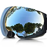 ZIONOR Lagopus X4 Ski Snowboard Snowmobile Goggles with Magnet Fast Lens Changing System 100% UV400 Protection Anti-fog Spherical Frameless Goggles for Ski Snowboard