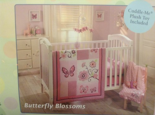 Little Bedding by NoJo -Butterfly Blossoms 4pc Crib Bedding Set (Pink and Purple)