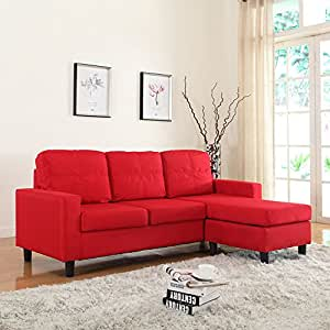 Amazoncom modern small space reversible linen fabric for Small sectional sofa amazon