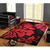 Large Heavy Quality Wool Rug in Black Red 120 x 180 cm (4' x 6') Carpet