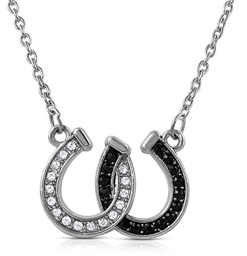 Lucky Clear and Black Crystals Double Horseshoes Silver Tone Necklace Fashion Jewelry