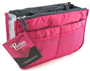 Periea - Sac de rangement/Pochette/Organisateur intérieur pour sac à main , 12 Grandes poches 28x17.5x12cm- Chelsy bright rose