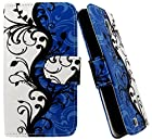 myLife Bright Blue and White {Black Vines and Leaves Design} Faux Leather (Card, Cash and ID Holder + Magnetic Closing) Slim Wallet for Galaxy Note 3 Smartphone by Samsung (External Textured Synthetic Leather with Magnetic Clip + Internal Secure Snap In Closure Hard Rubberized Bumper Holder)