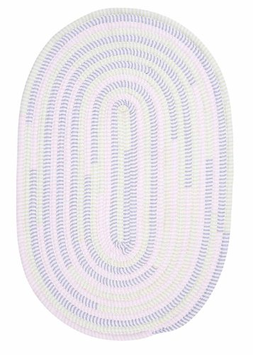 Kids Nursery Rug, Soft Braided 4ft. x 6ft. Oval Ivory & Purple Thick Cotton Carpet