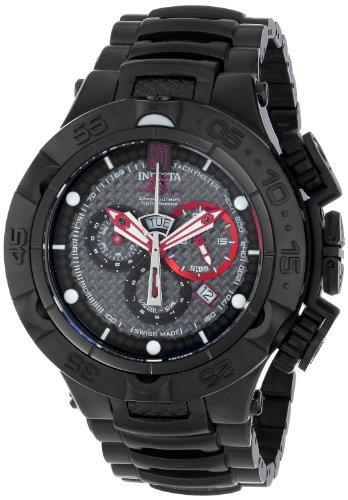 Invicta Jason Taylor Men's Quartz Watch with Black Dial  Chronograph display on Black Stainless Steel Bracelet 14411