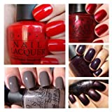 OPI Top 5 Best Selling Dark Shades 15ml - Big Apple Red, I'm Not Really A Waitress, Vampsterdam, Lincoln Park After Dark, You Don't Know Jacques!