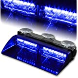 T Tocas® 16 Led High Intensity LED Windshield Emergency Hazard Warning Strobe Lights - Blue