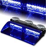 T Tocas® 16 Led High Intensity LED Windshield Emergency Hazard Warning Strobe Lights - Blue