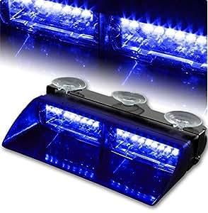 T Tocas® 16 Led High Intensity Car Auto Windshield Emergency Hazard Lamp Warning Strobe Lights - Blue