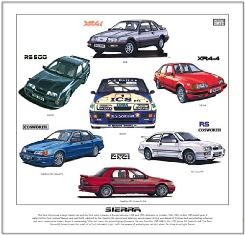 Ford Sierra & Cosworth Print --- XR4i, XR4x4, Sapphire Cosworth, RS Cosworth & RS500. Ready to frame.