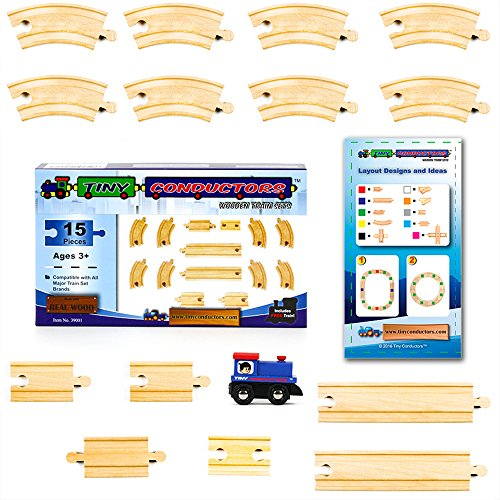 [15 Pieces] Wooden Train Track Set by Tiny Conductors - 100% Real Wood Railway Expansion Pack w/ Tank Engine; Fits Thomas, Brio, Chuggington, Melissa & Doug, and Imaginarium Kids Toy Railroad Sets