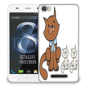 Snoogg cute cartoon cat with kittens vector cartoon illustration Designer Protective Back Case Cover For LAVA IRIS X8