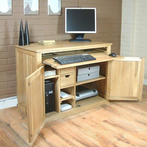 Hidden Home Office Mobel Computer Desk Solid Oak L105Cm