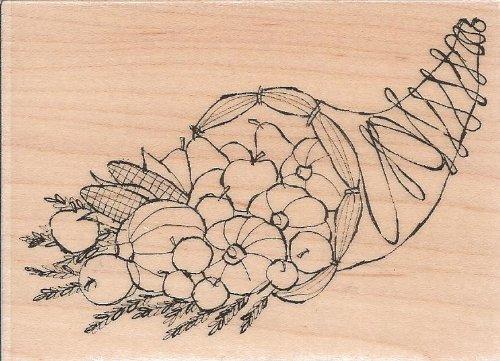 Cornucopia Wood Mounted Rubber Stamp (E7342)