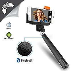 XTRA PRO Selfie Stick Self-portrait Monopod with Built-in Bluetooth Remote Shutter on the Handle for Smart Clicks Apple & Android Devices