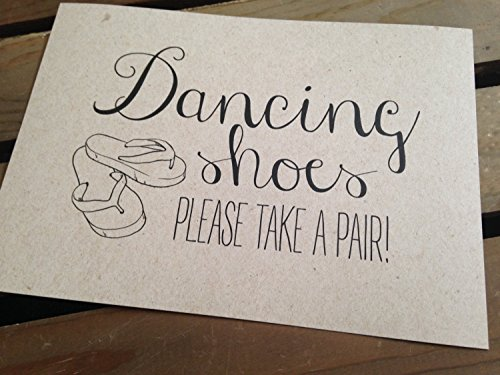 Dancing Shoes Please Take a Pair FLIP FLOPS - Wedding Signage - 5x7 PRINT - Reception - RUSTIC - Sign - Recycled - Eco Friendly