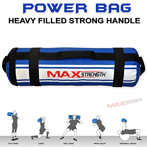 MAXSTRENGTH 10kg 15kg 20 kg 25 kg 30 kg Powerbag Gym Fitness Strength MMA Boxing Training Sand Bag Handles Cross Fit (Blue