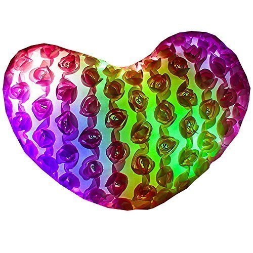Mirah June Luminous Glowing Heart Shape LED Light Up Stuffed Pillow Pink