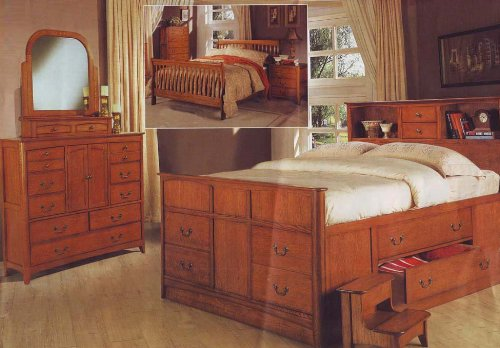 Queen Size Bedroom Set Oak Finish Wood Bed Room Chest