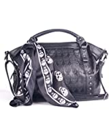 Angellswin Black Faux Leather 3d Skull Revit Women Scarf Tote Shoulder Purse Cross Body Handbag