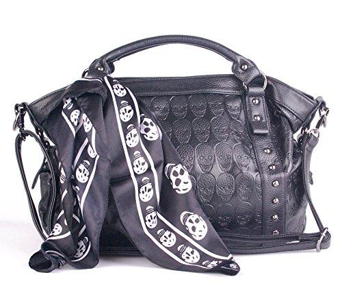 Angellswin Black Faux Leather 3d Skull Revit Women Scarf Tote Shoulder Purse Cross Body Handbag