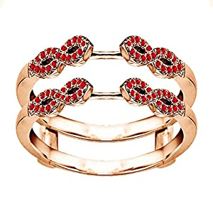 0.38CT Ruby Infinity Ring Guard Enhancer set in Rose Gold Plated Sterling Silver (0.38CT TWT Ruby)