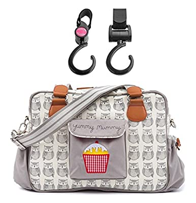 Yummy Mummy Stylish Nursery Changing Bag - Colour Wise Owl - Includes Travel Changing Mat Cupcake Design Plus 1 Pack Of Happy Mummy Hook n Stroll Pram Clips by Pink Lining