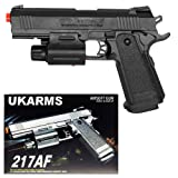 UKARMS 1911 Spring Plastic Pistol Airsoft Gun 217AF w/ Laser, Light FPS-160