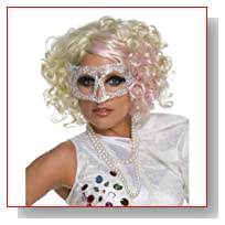Lady Gaga Curly Hair Wig With Pink Streak,Blonde,One Size