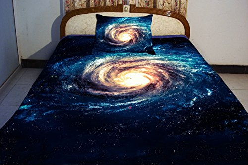 Anlye Bule Teen Bedding Set 2 Sides Printing Blue Nebula Quilt Cover Sets Nebula Swirl Bed Linen Sheets With 2 Swirl Nebula Pillow Covers Queen front-593441
